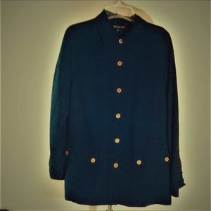 Blue Military Shirt Jones New York Collection Sz16